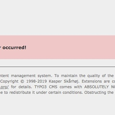 Oops, an error occurred! TYPO3 Website CMS